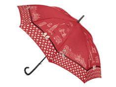 Cachemir London vystřelovací holový dámský deštník s potiskem Londýna Barva: Červená