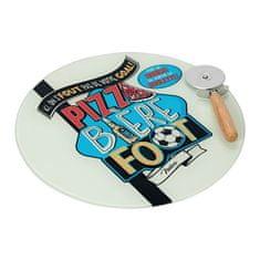 """Natives Vintage Tanier na pizzu """"Pizza biére foot"""" D 32 cm, drevo + sklo, 800650"""
