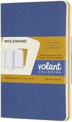 Moleskine Bilježnica Volant, crte, mala, 2 komada, plava i žuta