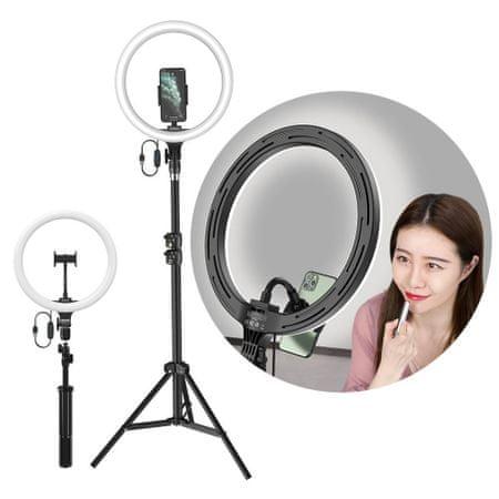 """BASEUS Photo Ring Selfie LED szelfi lámpa, körfény 12"""" + magas állvány, fekete"""