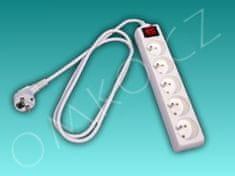 Solight Prodlužovací kabel Solight PP41, 5 zásuvek, 2m, bílý