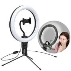 """BASEUS Photo Ring Selfie LED szelfi lámpa, gyűrű 10"""" + mini asztali állvány, fekete"""