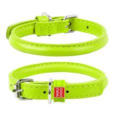 Wau Dog Okrúhly kožený obojok zelený