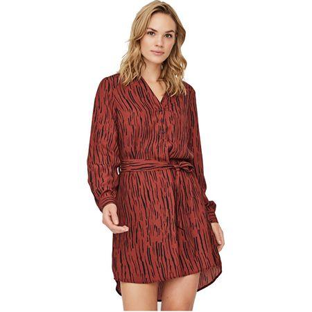 Vero Moda Női ruhaVMSINE L/S SHORT DRESS WVN BF Madder Brown Iben (méret XS)