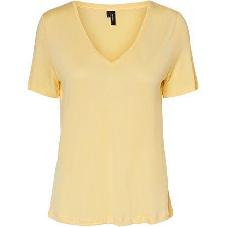 Vero Moda Koszulka damska VMSOFIA SS V-NECK TOP GA VO Pale Banana (Wielkość XS)