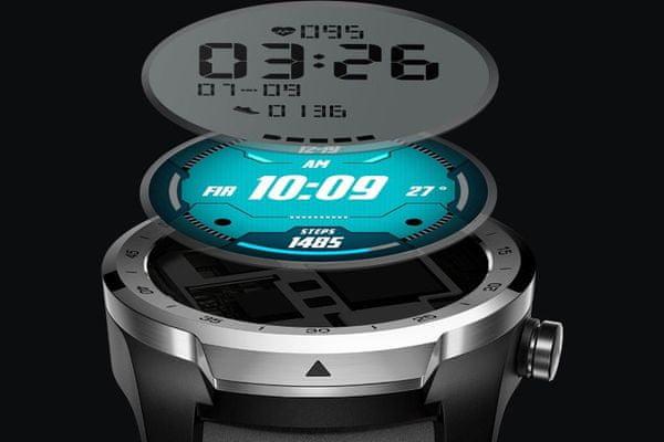 ultraštýlové hodinky ticwatch pre 2020 silver odolné vode 1gb ram 4gb flash pamäť rad aplikácií z google play budík 6 senzorov Bluetooth ble wifi pripojenie IP68 vojenský štandard viacvrstvový displej sklíčko gorilla glass 3 výdrž až 30 dní na nabitie remienok z talianskej kože