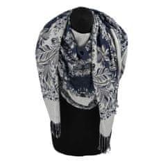 Cashmere Luxusní dámská šála Flower s třpytkami, sky blue