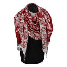 Cashmere Luxusná dámska šála Flower s trblietkami, červená