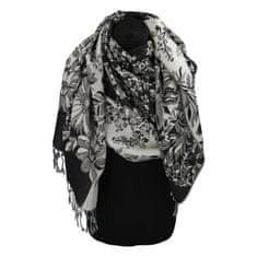 Cashmere Luxusná dámska šála Flower s trblietkami, čierna