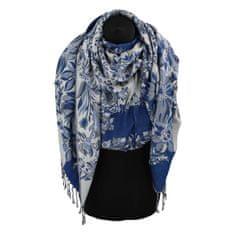 Cashmere Luxusná dámska šála Flower s trblietkami, modrá