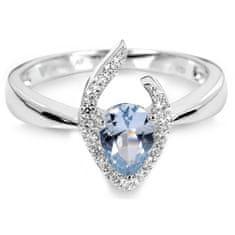 Silver Cat Srebrni prstan z modrim kristalom SC115 srebro 925/1000