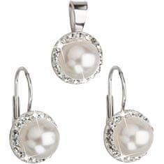Evolution Group Sada s perlami a kryštály Swarovski 39091.1 biela (náušnice, prívesok) striebro 925/1000