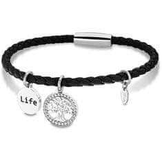 Lotus Style Černý kožený náramek Strom života LS2020-2/3