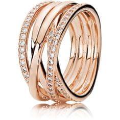 Pandora Bronzový prepletený prsteň 180919CZ striebro 925/1000