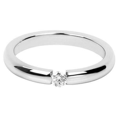 Troli Bájos acél gyűrű kristállyal (Kerület 63 mm)