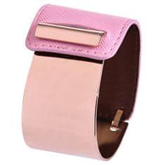 Troli Fashion náramok z ocele a kože bronzový / ružový