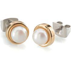 Boccia Titanium Pozłacane kolczyki tytanowe z perłami 0594-02