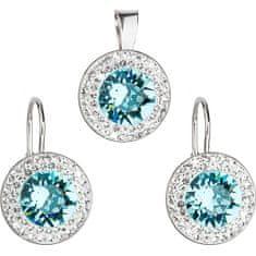 Evolution Group Sada á la Kate Middleton 39107.3 light turquoise (náušnice, přívěsek) stříbro 925/1000