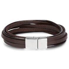 Troli Hnedý kožený náramok Leather