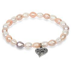 JwL Luxury Pearls Delikatna bransoletka wykonana z prawdziwych pereł z metalicznym Serca JL0293