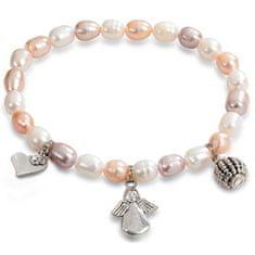 JwL Luxury Pearls bransoletka delikatne prawdziwe perły z ozdobami JL0295
