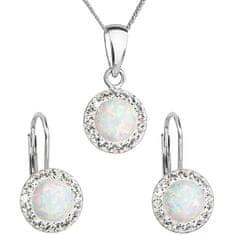 Evolution Group Trblietavá súprava šperkov 39160.1 & white s.opal (náušnice, retiazka, prívesok)