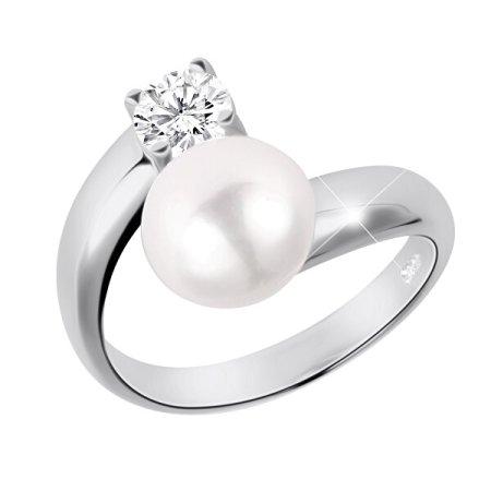 JwL Luxury Pearls Ezüst gyűrű fehér gyönggyel és színtelen kristállyal JL0432 ezüst 925/1000