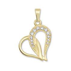 Brilio Zlatý přívěsek srdce s krystaly 249 001 00472