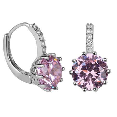 Troli Svetleči uhani z roza kristalom