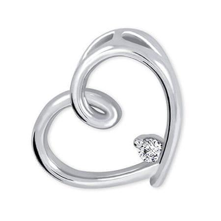Brilio Silver Srebrni obesek Srce s kristalom 446 001 00226 04 - 2,63 g srebro 925/1000