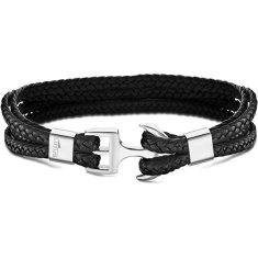Lotus Style Černý kožený náramek s kotvou LS2006-2/1