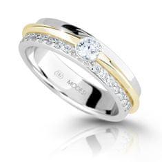 Modesi Dvobarvni srebrni prstan z cirkoni M16023 srebro 925/1000