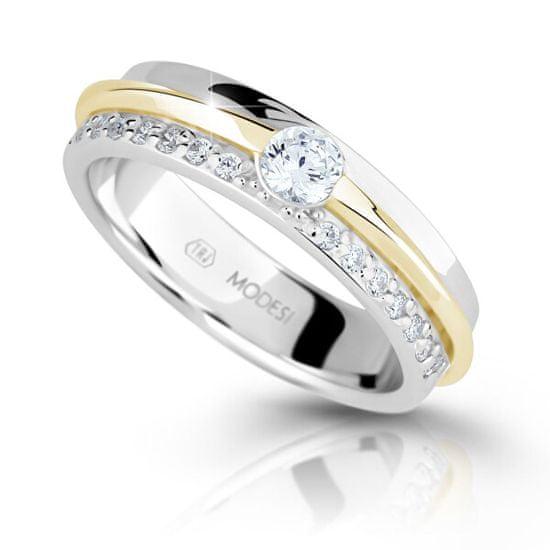 Modesi Bicolor stříbrný prsten se zirkony M16023 (Obvod 56 mm) stříbro 925/1000