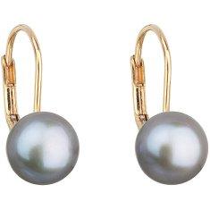Evolution Group Zlaté visací náušnice s pravými perlami Pavona 921009.3 grey