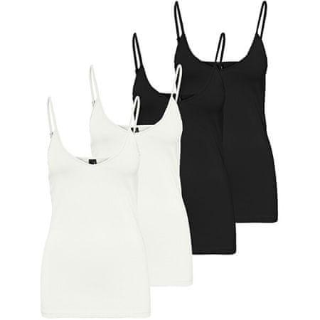 Vero Moda 4 PACK - női trikó VMMAXI 10247491 Bright White,Black (méret XL)