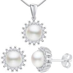 Silvego Stříbrný set VERA s pravou perlou LPS1166 (náušnice, přívěsek) stříbro 925/1000