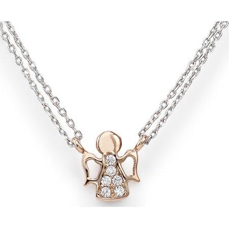Amen Różowe złocone Srebrny naszyjnik z cyrkoniami Anioły CL2ABR srebro 925/1000