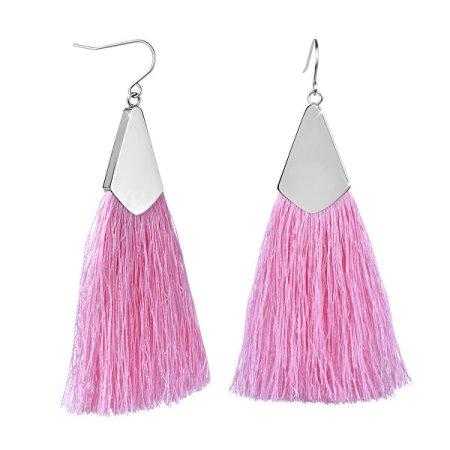 Troli Rózsaszín bojt fülbevaló acél akasztóval
