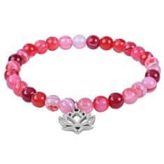 Troli Roza zapestnica iz ahatovega perla z rožico lotosa