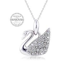 Levien Romantický náhrdelník Labuť s čirými krystaly