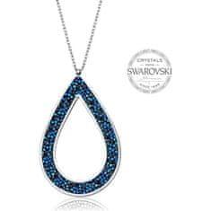 Levien Krásný náhrdelník s krystaly SS Rocks Pear 49 bermuda blue