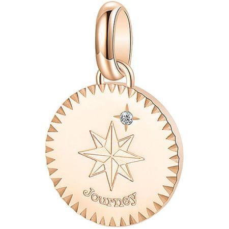 Brosway Różowa stal pozłacana wisiorekz kryształem Journey Très Jolie BTJM186