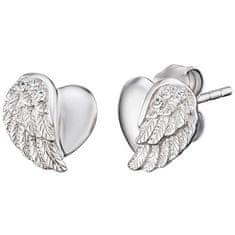 Engelsrufer Strieborné náušnice Srdce s anjelským krídlom a zirkónmi ERE-LILHW-ST