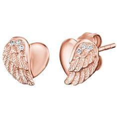Engelsrufer Ružovo pozlátené strieborné náušnice Srdce s anjelským krídlom a zirkónmi ERE-LILHW-STR