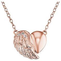 Engelsrufer Růžově zlacený stříbrný náhrdelník Srdce s křídlem a zirkony ERN-LILHW-R stříbro 925/1000