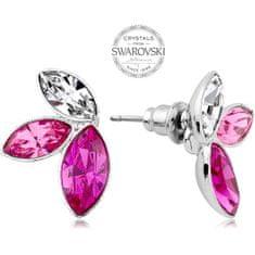 Levien Náušnice se třemi krystaly v růžových odstínech Navette