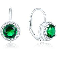 Beneto Ezüst fülbevaló zöld kristályokkal AGUC1157