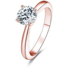 Beneto Růžově pozlacený stříbrný prsten s krystaly AGG201 stříbro 925/1000