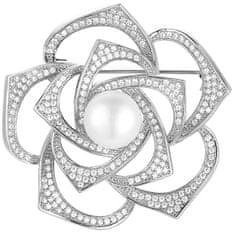 Beneto Srebrno bleščeča broška s pravo biserno perlo AGBR4 srebro 925/1000