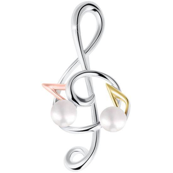 JwL Luxury Pearls Tricolor brož houslový klíč s notami s pravou perlou 2v1 JL0575